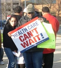 ADA members demonstrating for health care.